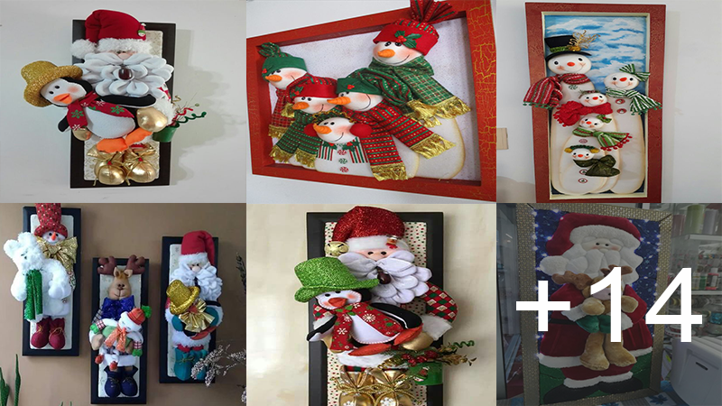 hacer cuadros con muñecos navideños