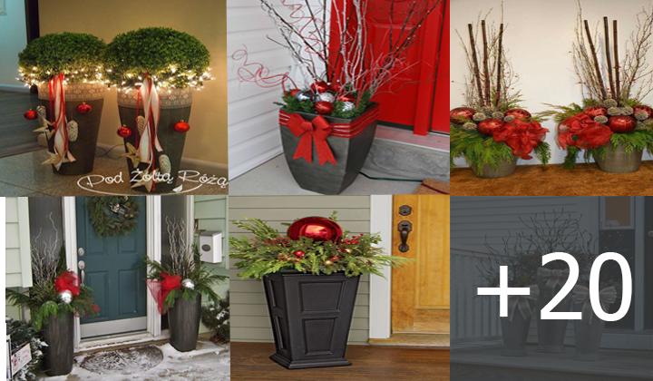 Macetas al aire libre para decorar tu entrada para Navidad