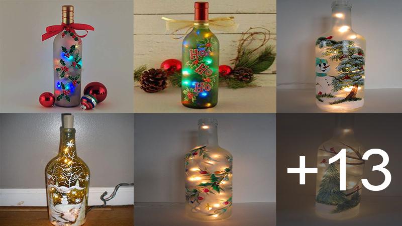 decoraciones navideñas con botellas de vidrio y luces