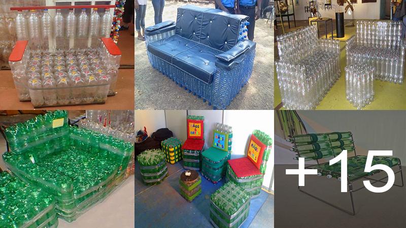 Hacer estas hermosos muebles de botellas plásticas